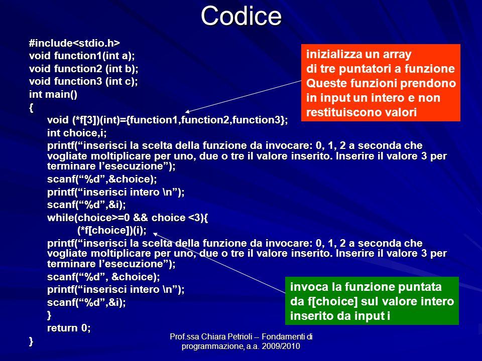 Prof.ssa Chiara Petrioli -- Fondamenti di programmazione, a.a. 2009/2010Codice#include<stdio.h> void function1(int a); void function2 (int b); void fu