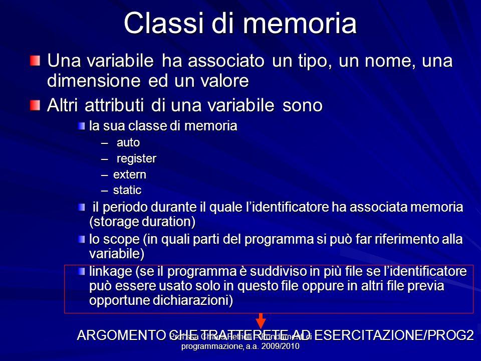 Prof.ssa Chiara Petrioli -- Fondamenti di programmazione, a.a. 2009/2010 Classi di memoria Una variabile ha associato un tipo, un nome, una dimensione