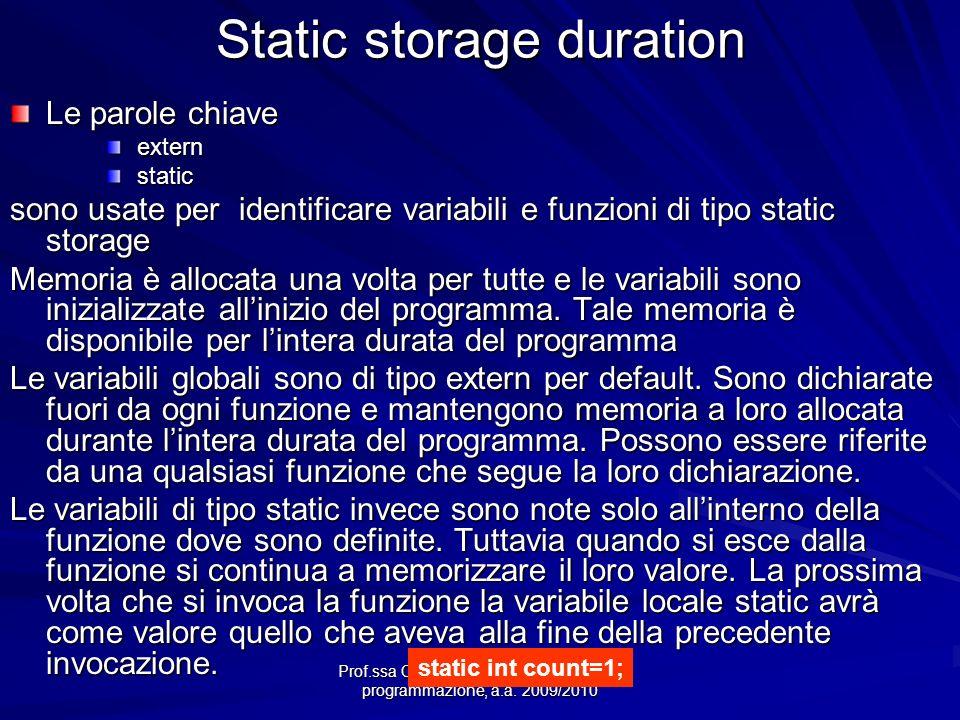 Prof.ssa Chiara Petrioli -- Fondamenti di programmazione, a.a. 2009/2010 Static storage duration Le parole chiave extern extern static static sono usa