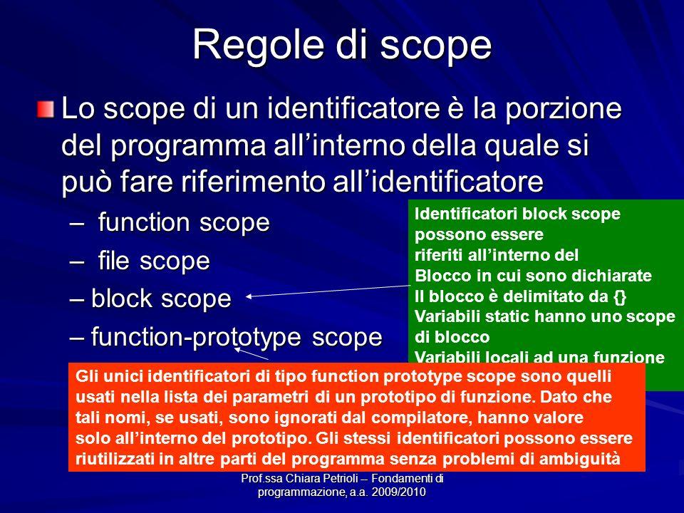 Prof.ssa Chiara Petrioli -- Fondamenti di programmazione, a.a. 2009/2010 Regole di scope Lo scope di un identificatore è la porzione del programma all