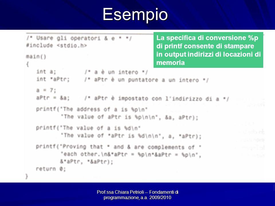 Prof.ssa Chiara Petrioli -- Fondamenti di programmazione, a.a. 2009/2010Esempio La specifica di conversione %p di printf consente di stampare in outpu