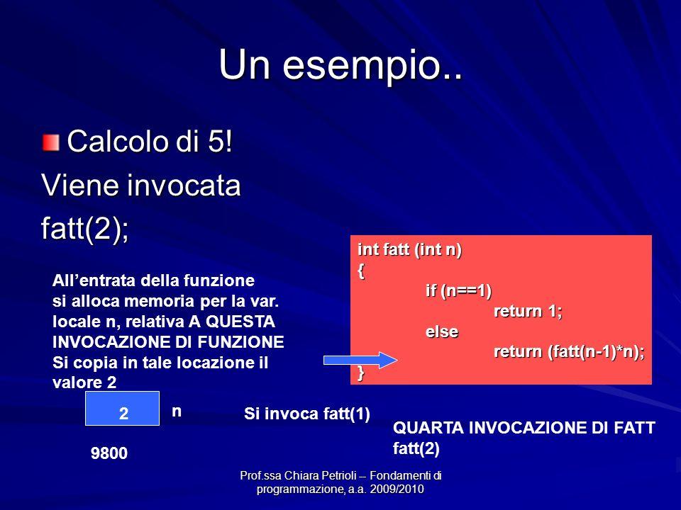Prof.ssa Chiara Petrioli -- Fondamenti di programmazione, a.a. 2009/2010 Un esempio.. Calcolo di 5! Viene invocata fatt(2); int fatt (int n) { if (n==