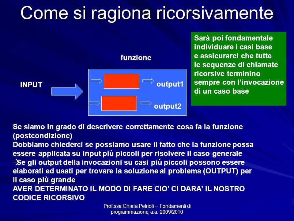 Prof.ssa Chiara Petrioli -- Fondamenti di programmazione, a.a. 2009/2010 Come si ragiona ricorsivamente INPUT OUTPUT funzione Se siamo in grado di des