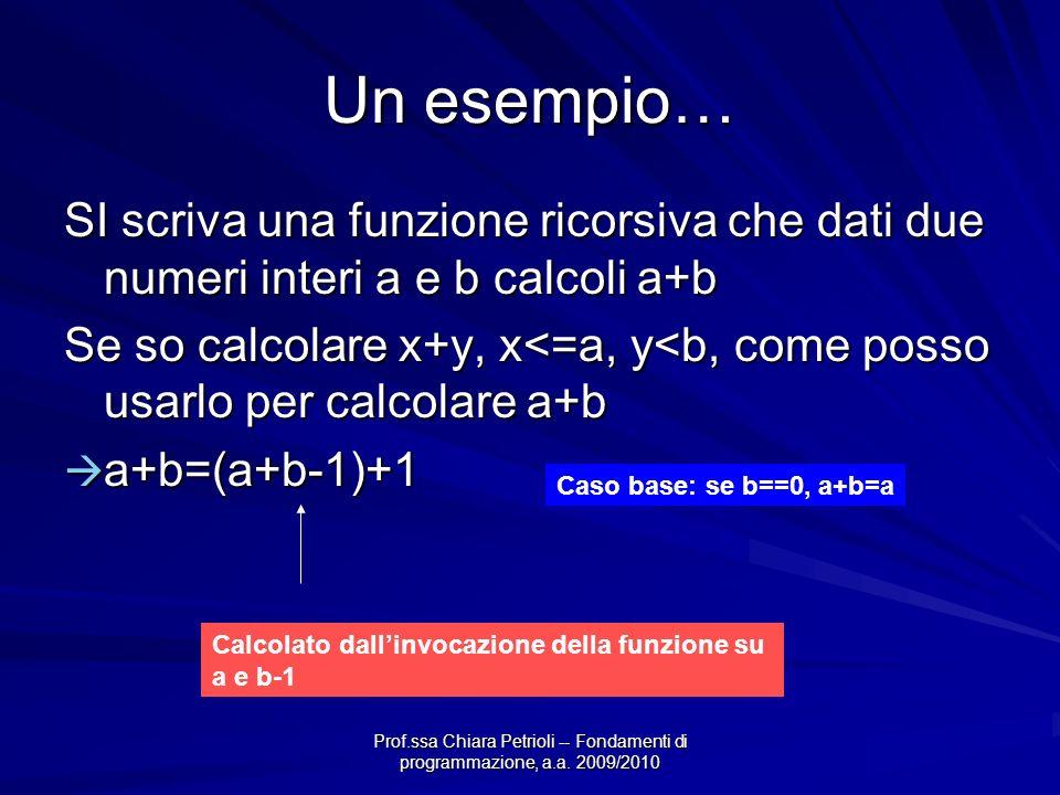 Prof.ssa Chiara Petrioli -- Fondamenti di programmazione, a.a. 2009/2010 Un esempio… SI scriva una funzione ricorsiva che dati due numeri interi a e b