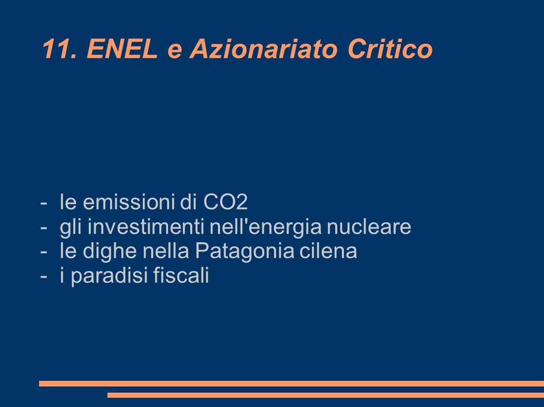 11. ENEL e Azionariato Critico - le emissioni di CO2 - gli investimenti nell'energia nucleare - le dighe nella Patagonia cilena - i paradisi fiscali