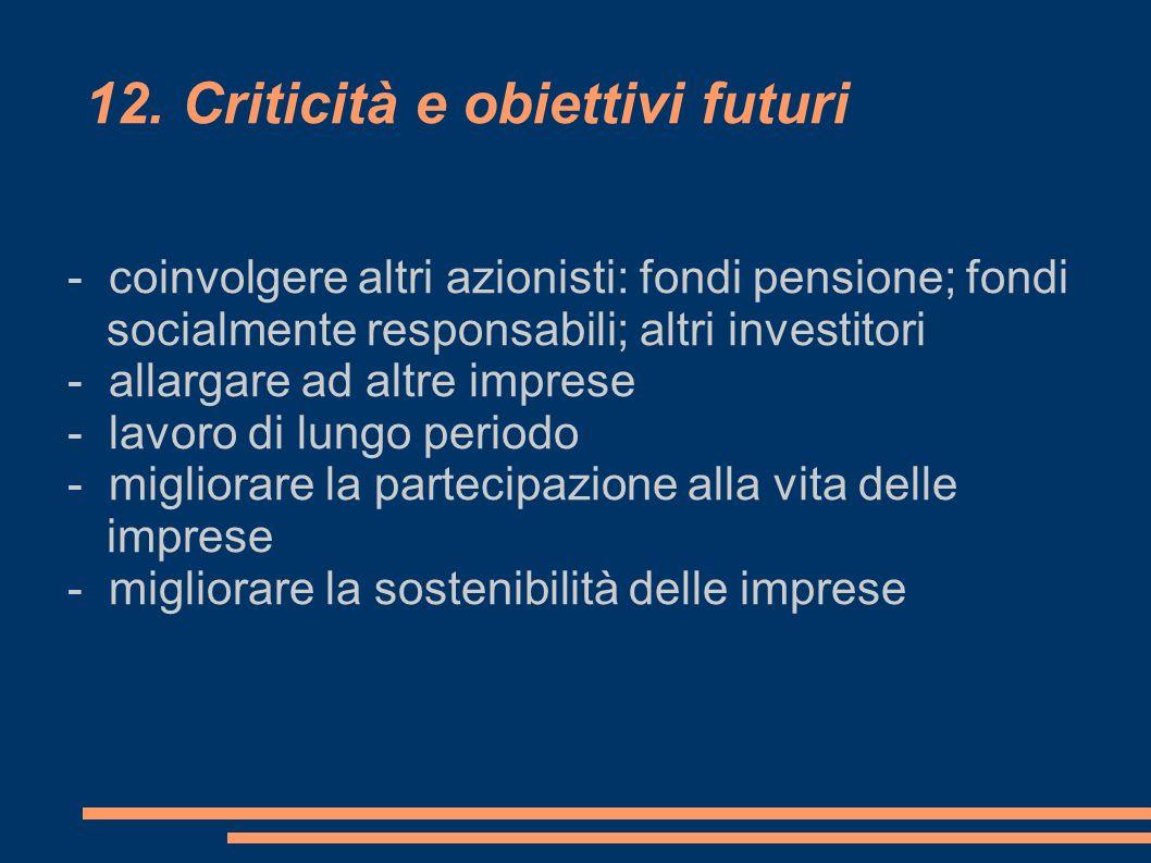 12. Criticità e obiettivi futuri - coinvolgere altri azionisti: fondi pensione; fondi socialmente responsabili; altri investitori - allargare ad altre