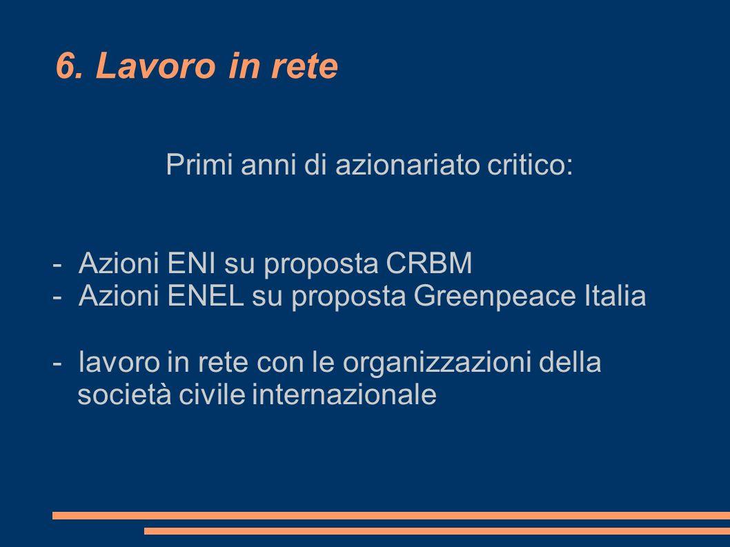 6. Lavoro in rete Primi anni di azionariato critico: - Azioni ENI su proposta CRBM - Azioni ENEL su proposta Greenpeace Italia - lavoro in rete con le