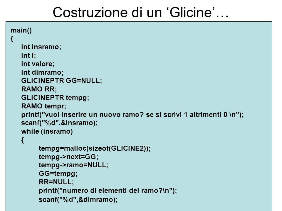 Costruzione di un Glicine… main() { int insramo; int i; int valore; int dimramo; GLICINEPTR GG=NULL; RAMO RR; GLICINEPTR tempg; RAMO tempr; printf( vuoi inserire un nuovo ramo.