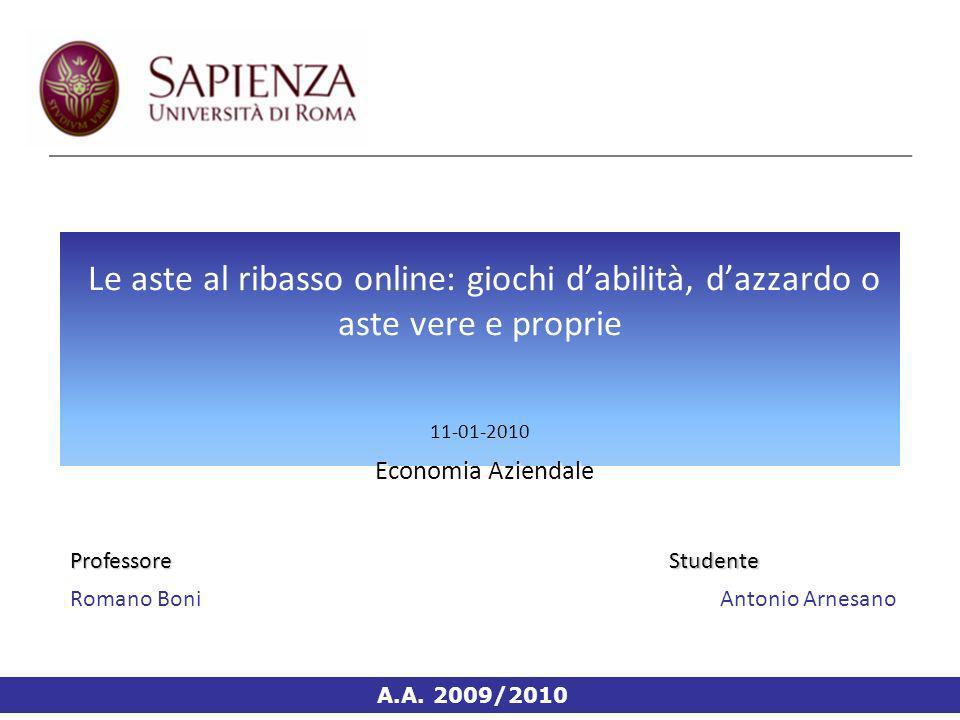 Economia Aziendale Le aste al ribasso online: giochi dabilità, dazzardo o aste vere e proprie 11-01-2010 Economia Aziendale A.A.
