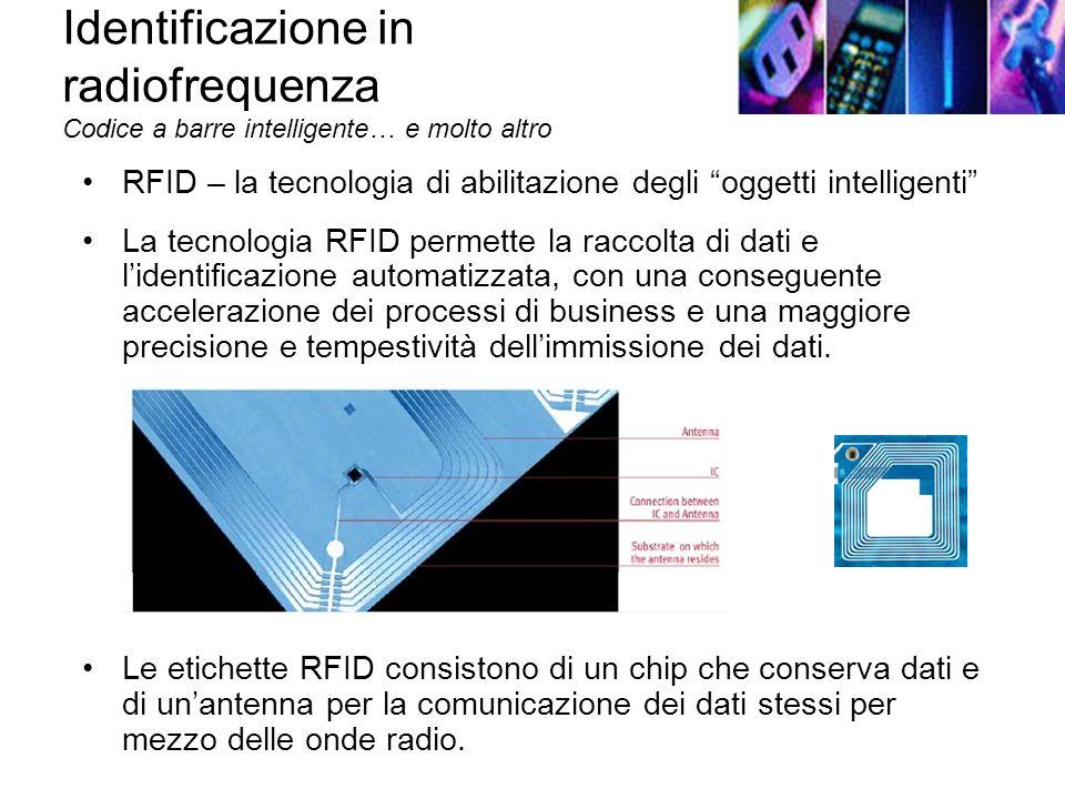 Identificazione in radiofrequenza Codice a barre intelligente… e molto altro RFID – la tecnologia di abilitazione degli oggetti intelligenti La tecnologia RFID permette la raccolta di dati e lidentificazione automatizzata, con una conseguente accelerazione dei processi di business e una maggiore precisione e tempestività dellimmissione dei dati.