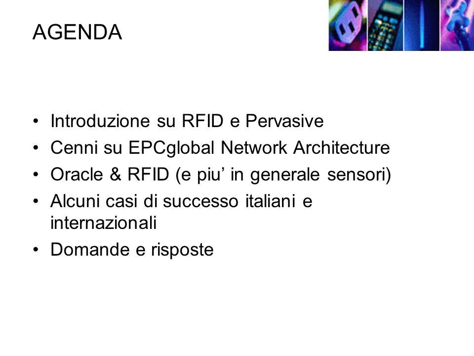 AGENDA Introduzione su RFID e Pervasive Cenni su EPCglobal Network Architecture Oracle & RFID (e piu in generale sensori) Alcuni casi di successo italiani e internazionali Domande e risposte