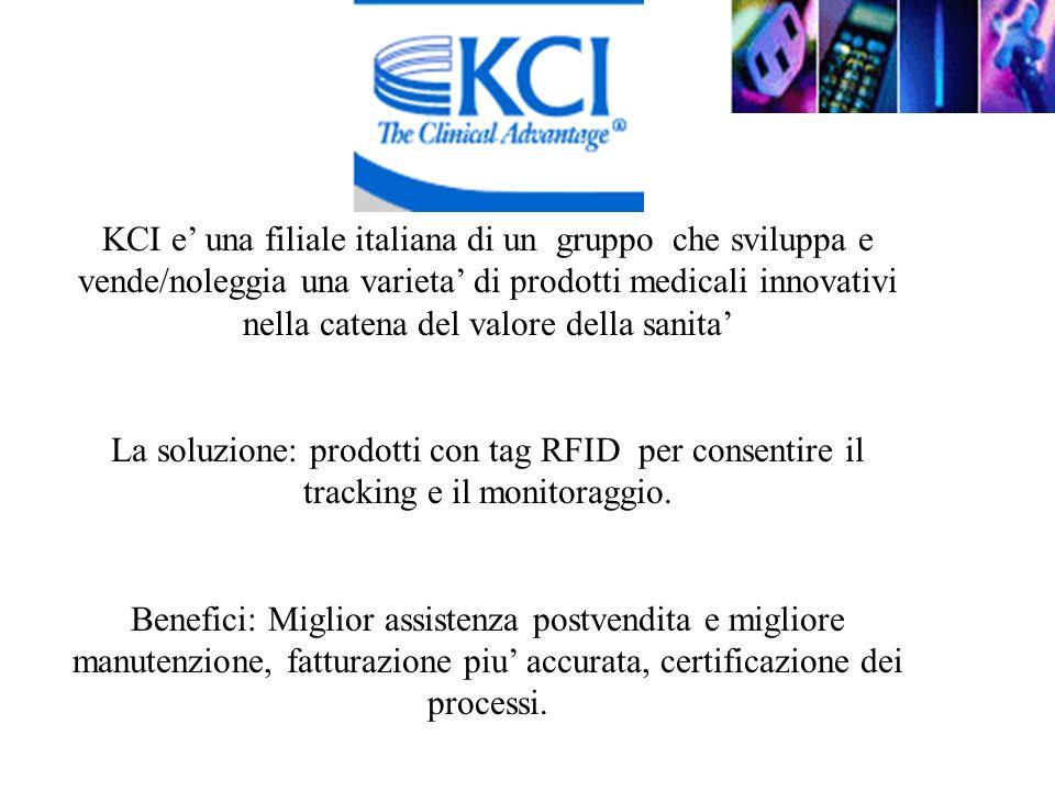 KCI e una filiale italiana di un gruppo che sviluppa e vende/noleggia una varieta di prodotti medicali innovativi nella catena del valore della sanita La soluzione: prodotti con tag RFID per consentire il tracking e il monitoraggio.