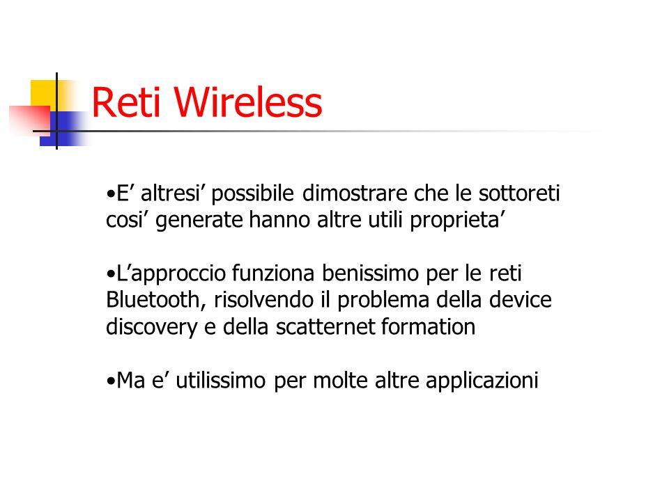 Reti Wireless E altresi possibile dimostrare che le sottoreti cosi generate hanno altre utili proprieta Lapproccio funziona benissimo per le reti Blue