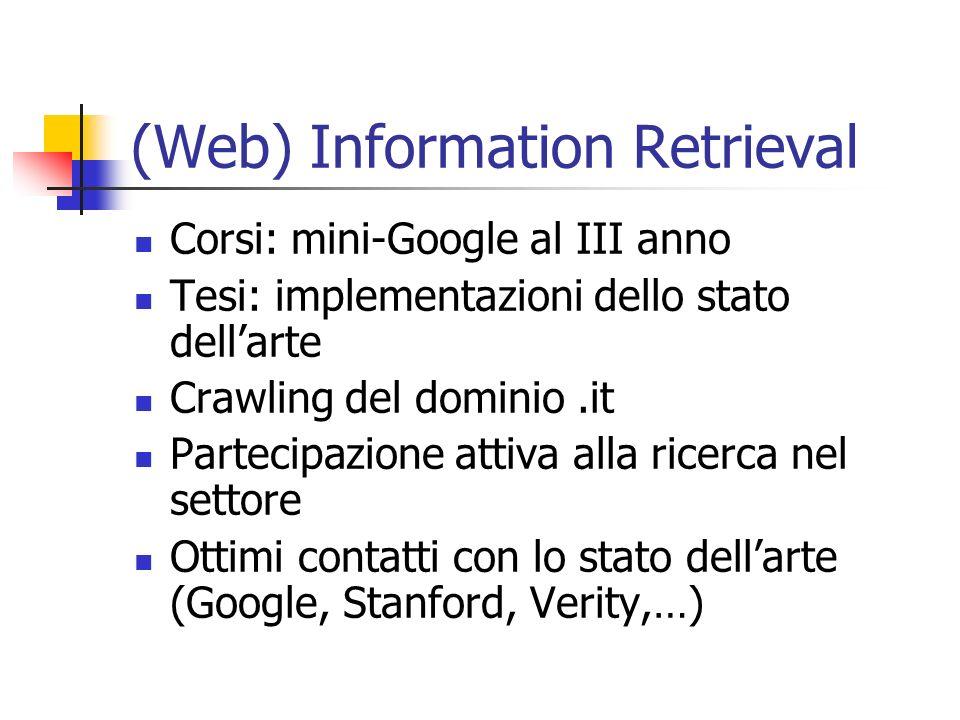 (Web) Information Retrieval Corsi: mini-Google al III anno Tesi: implementazioni dello stato dellarte Crawling del dominio.it Partecipazione attiva al