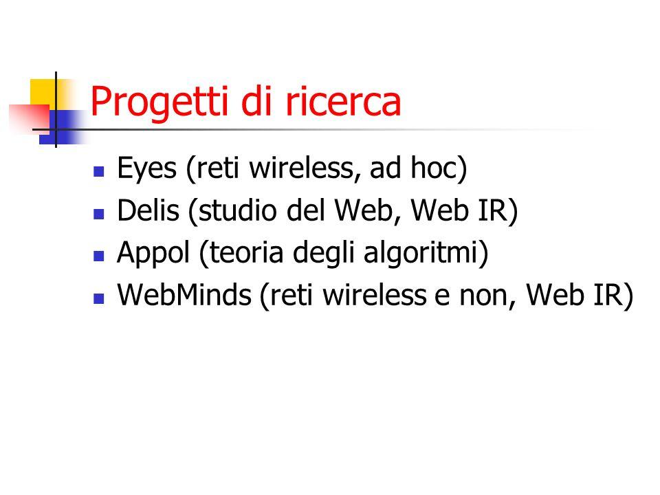 Progetti di ricerca Eyes (reti wireless, ad hoc) Delis (studio del Web, Web IR) Appol (teoria degli algoritmi) WebMinds (reti wireless e non, Web IR)