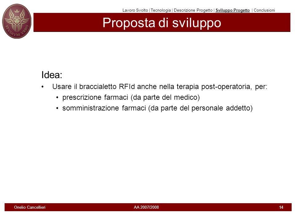 Proposta di sviluppo Idea: Usare il braccialetto RFId anche nella terapia post-operatoria, per: prescrizione farmaci (da parte del medico) somministra
