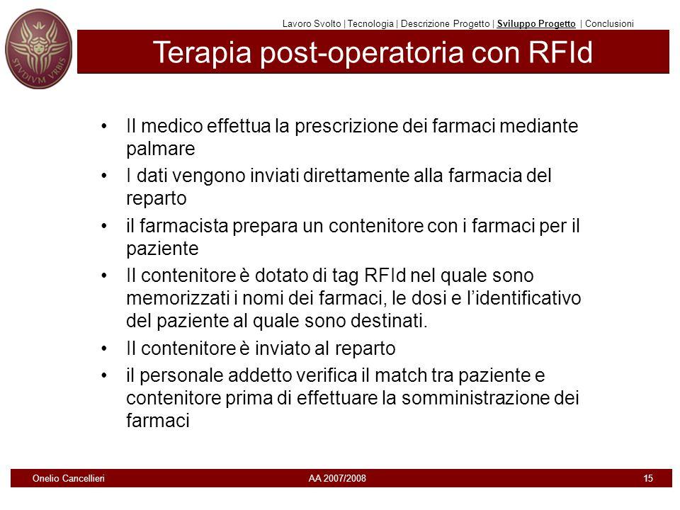 Terapia post-operatoria con RFId Il medico effettua la prescrizione dei farmaci mediante palmare I dati vengono inviati direttamente alla farmacia del