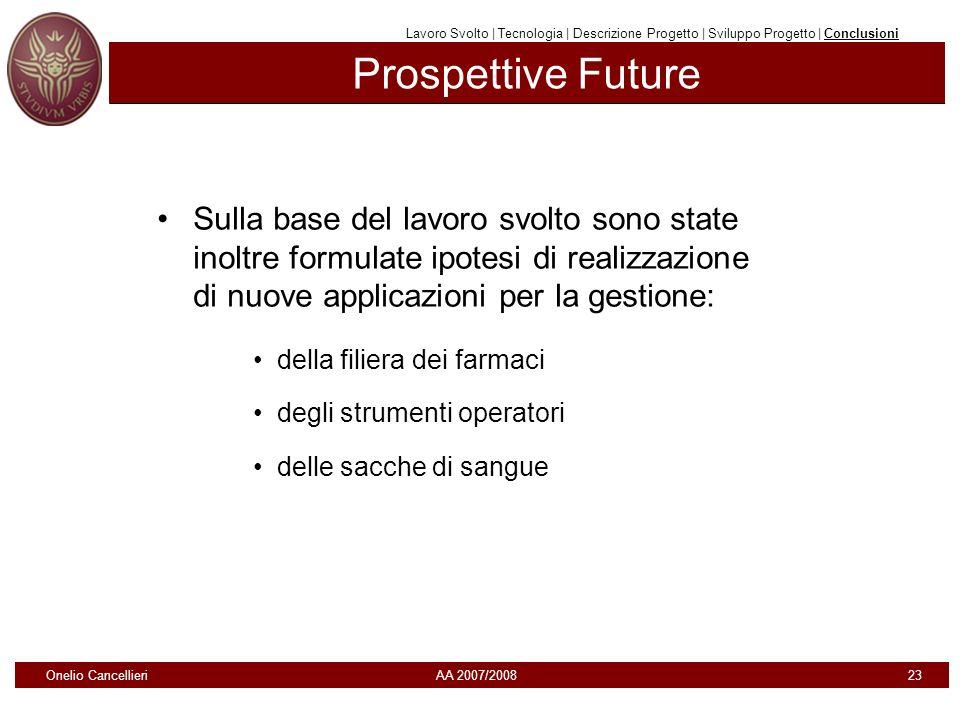 Prospettive Future Onelio Cancellieri AA 2007/2008 23 Sulla base del lavoro svolto sono state inoltre formulate ipotesi di realizzazione di nuove appl