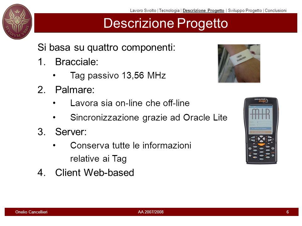 Descrizione Progetto Si basa su quattro componenti: 1.Bracciale: Tag passivo 13,56 MHz 2.Palmare: Lavora sia on-line che off-line Sincronizzazione gra