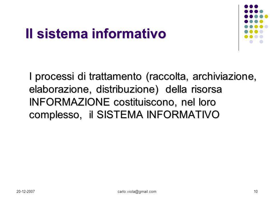 20-12-2007carlo.viola@gmail.com10 I processi di trattamento (raccolta, archiviazione, elaborazione, distribuzione) della risorsa INFORMAZIONE costitui