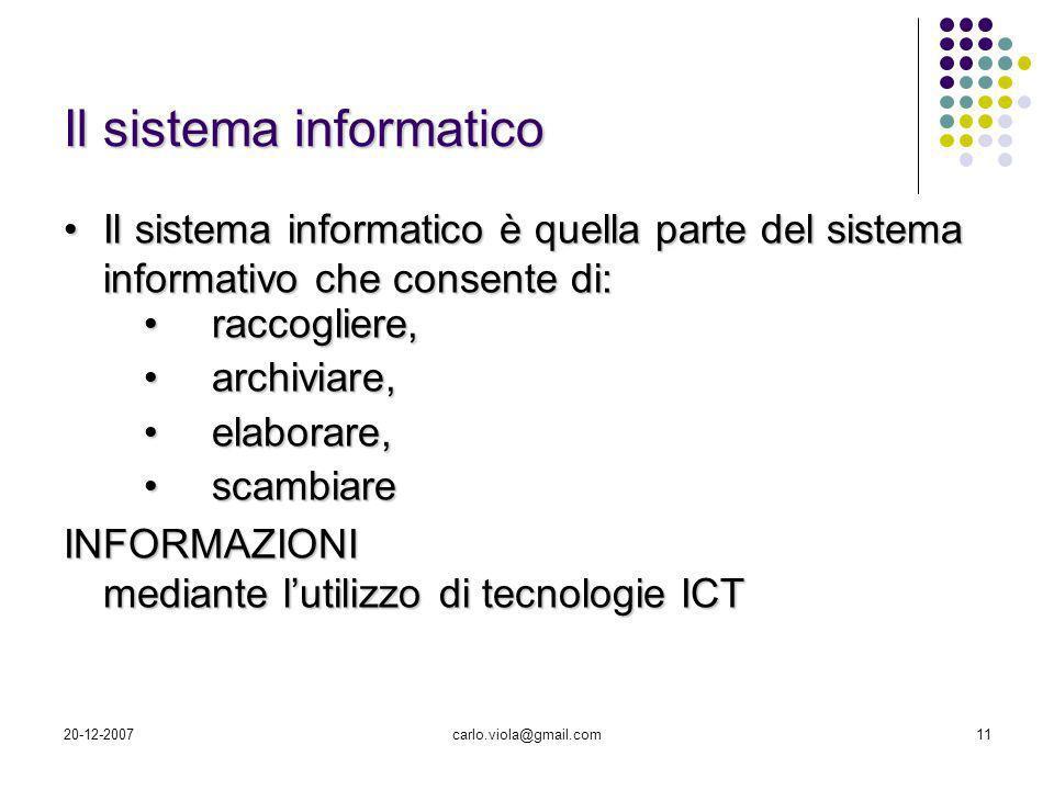 20-12-2007carlo.viola@gmail.com11 Il sistema informatico è quella parte del sistema informativo che consente di:Il sistema informatico è quella parte