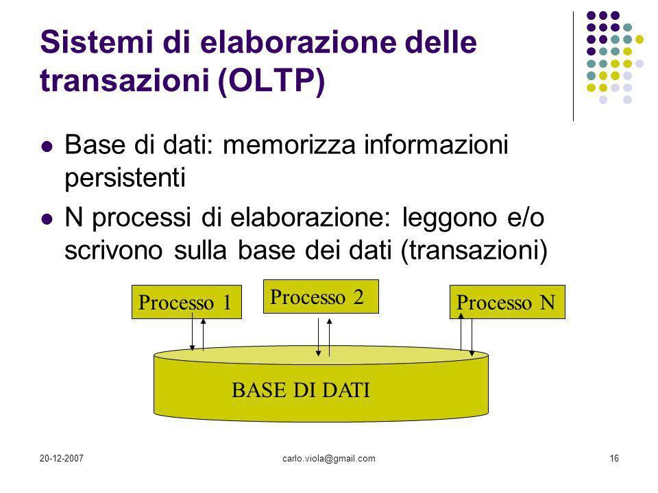 20-12-2007carlo.viola@gmail.com16 BASE DI DATI Processo 1 Processo 2 Processo N Sistemi di elaborazione delle transazioni (OLTP) Base di dati: memoriz