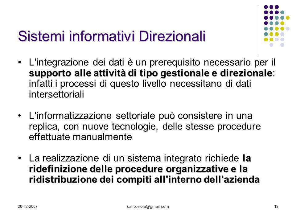 20-12-2007carlo.viola@gmail.com19 supporto alle attività di tipo gestionale e direzionaleL'integrazione dei dati è un prerequisito necessario per il s