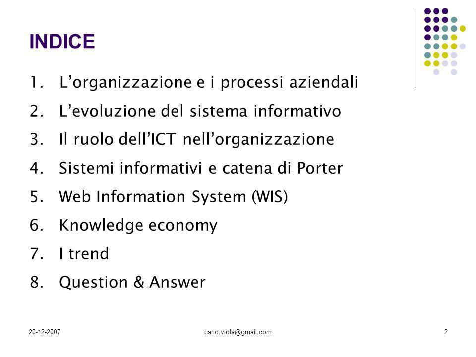 20-12-2007carlo.viola@gmail.com2 INDICE 1. Lorganizzazione e i processi aziendali 2.Levoluzione del sistema informativo 3.Il ruolo dellICT nellorganiz