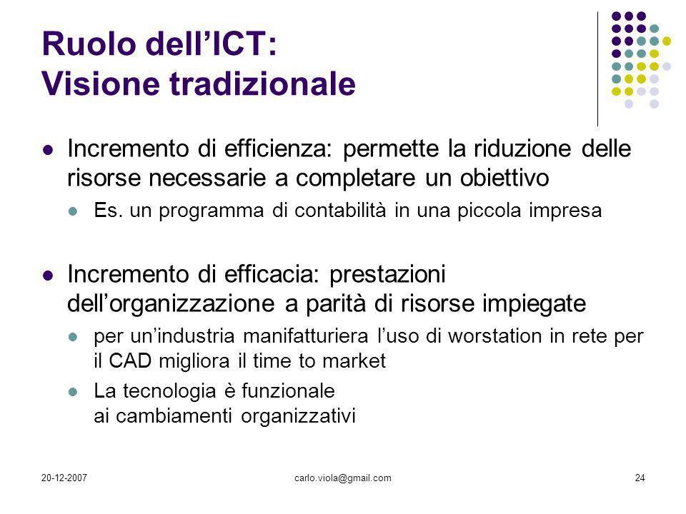 20-12-2007carlo.viola@gmail.com24 Ruolo dellICT: Visione tradizionale Incremento di efficienza: permette la riduzione delle risorse necessarie a compl