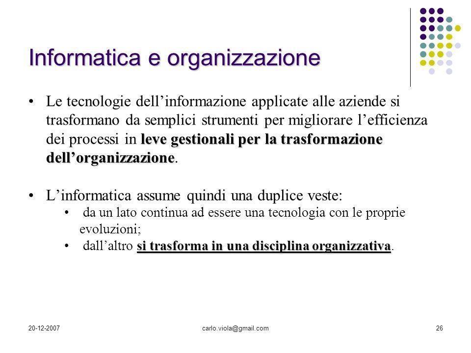 20-12-2007carlo.viola@gmail.com26 leve gestionali per la trasformazione dellorganizzazioneLe tecnologie dellinformazione applicate alle aziende si tra
