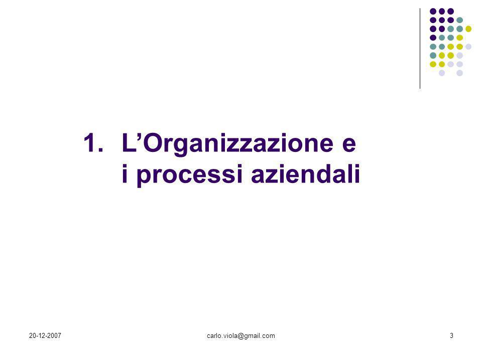 20-12-2007carlo.viola@gmail.com4 Struttura di unorganizzazione Suddivisione dellorganizzazione in differenti sistemi con compiti ed obiettivi specifici che cooperano attraverso legami di tipo gerarchico e funzionale