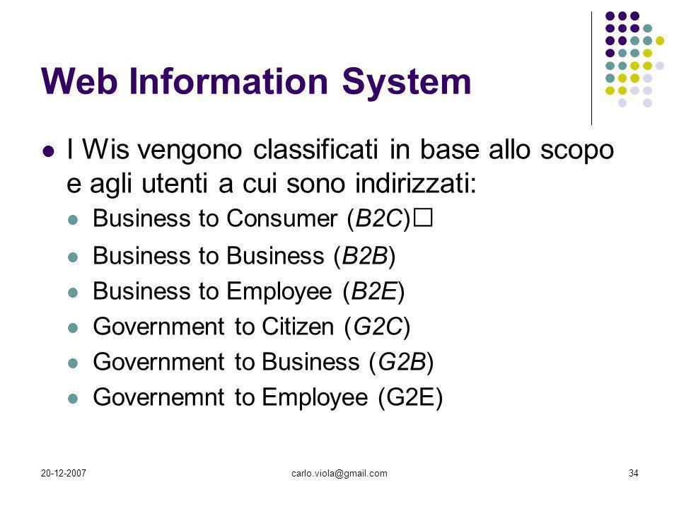 20-12-2007carlo.viola@gmail.com34 Web Information System I Wis vengono classificati in base allo scopo e agli utenti a cui sono indirizzati: Business