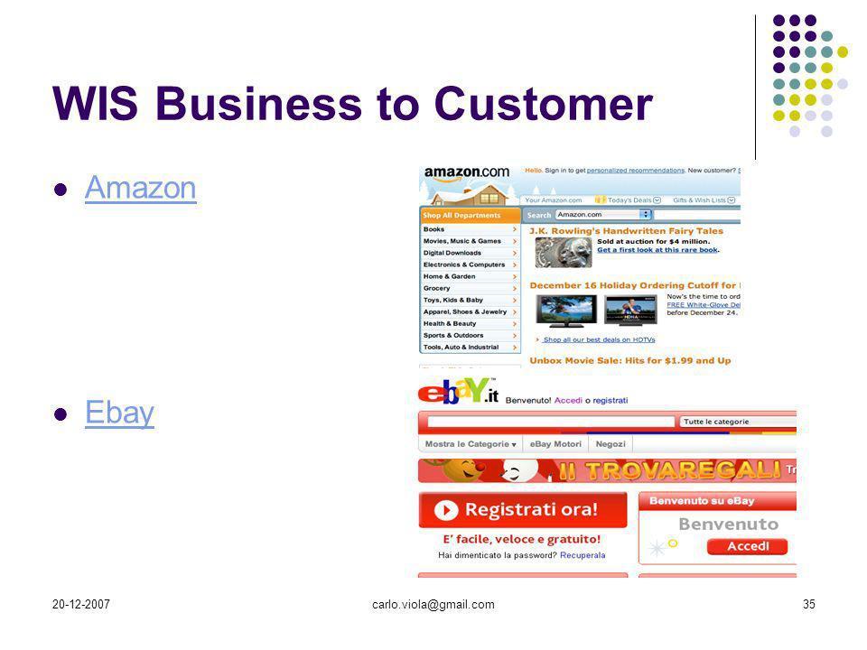 20-12-2007carlo.viola@gmail.com35 WIS Business to Customer Amazon Ebay