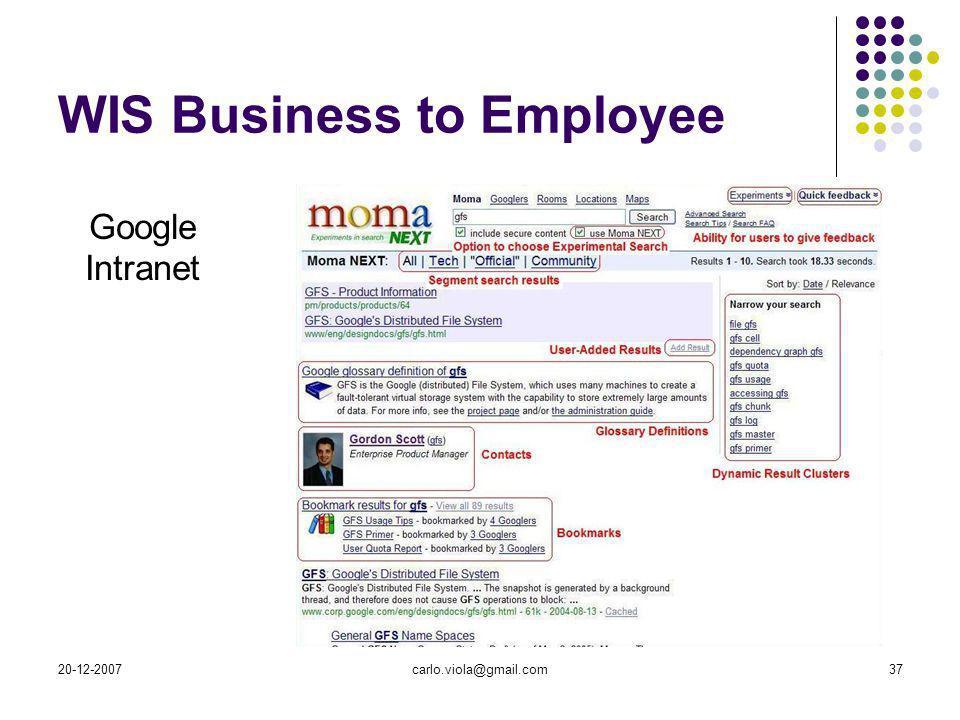 20-12-2007carlo.viola@gmail.com37 WIS Business to Employee Google Intranet