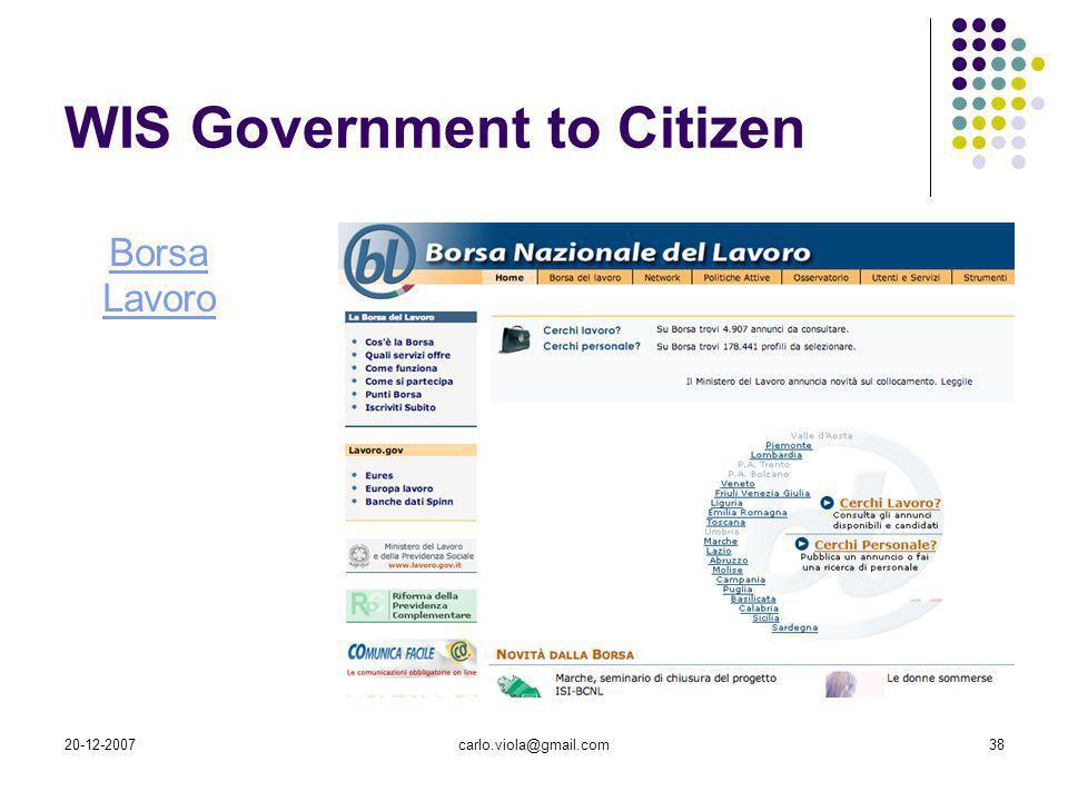 20-12-2007carlo.viola@gmail.com38 WIS Government to Citizen Borsa Lavoro
