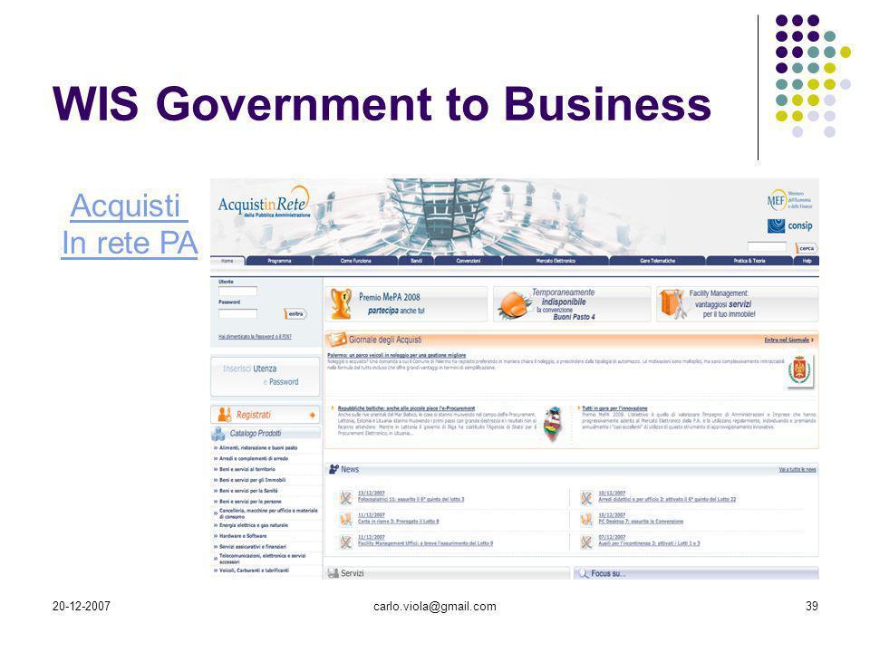 20-12-2007carlo.viola@gmail.com39 WIS Government to Business Acquisti In rete PA