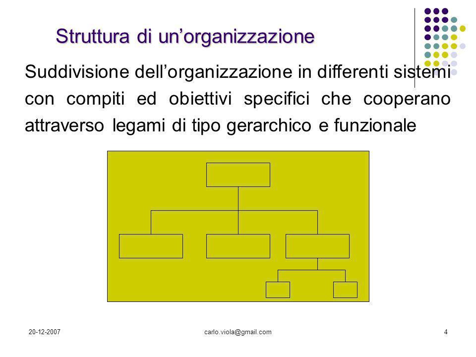 20-12-2007carlo.viola@gmail.com4 Struttura di unorganizzazione Suddivisione dellorganizzazione in differenti sistemi con compiti ed obiettivi specific