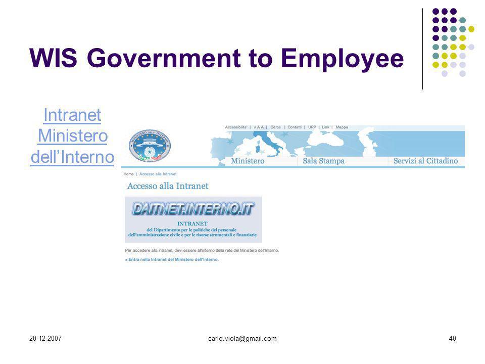 20-12-2007carlo.viola@gmail.com40 WIS Government to Employee Intranet Ministero dellInterno