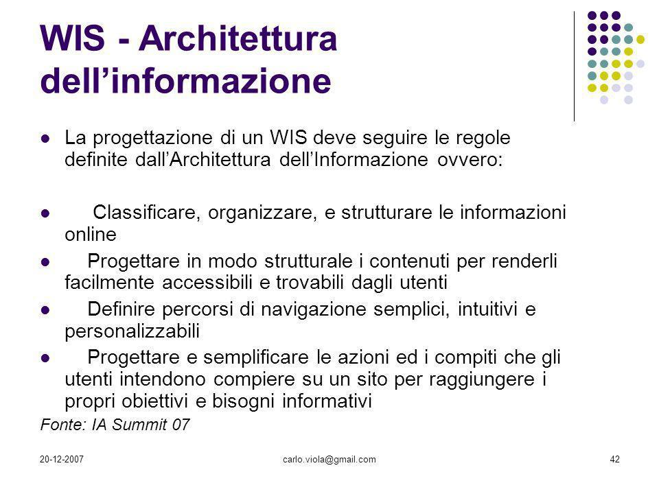 20-12-2007carlo.viola@gmail.com42 WIS - Architettura dellinformazione La progettazione di un WIS deve seguire le regole definite dallArchitettura dell