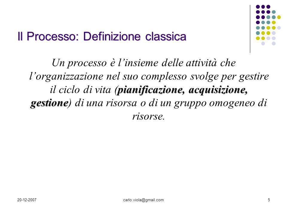 20-12-2007carlo.viola@gmail.com5 Il Processo: Definizione classica pianificazione, acquisizione, gestione Un processo è linsieme delle attività che lo