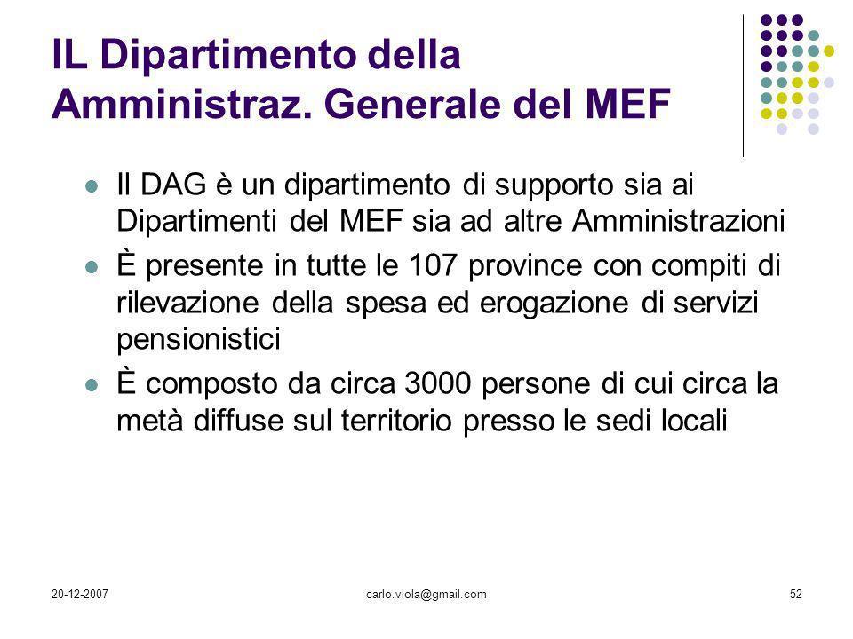 20-12-2007carlo.viola@gmail.com52 IL Dipartimento della Amministraz. Generale del MEF Il DAG è un dipartimento di supporto sia ai Dipartimenti del MEF
