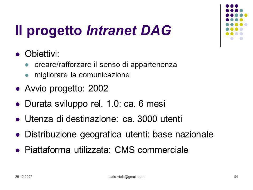 20-12-2007carlo.viola@gmail.com54 Il progetto Intranet DAG Obiettivi: creare/rafforzare il senso di appartenenza migliorare la comunicazione Avvio pro