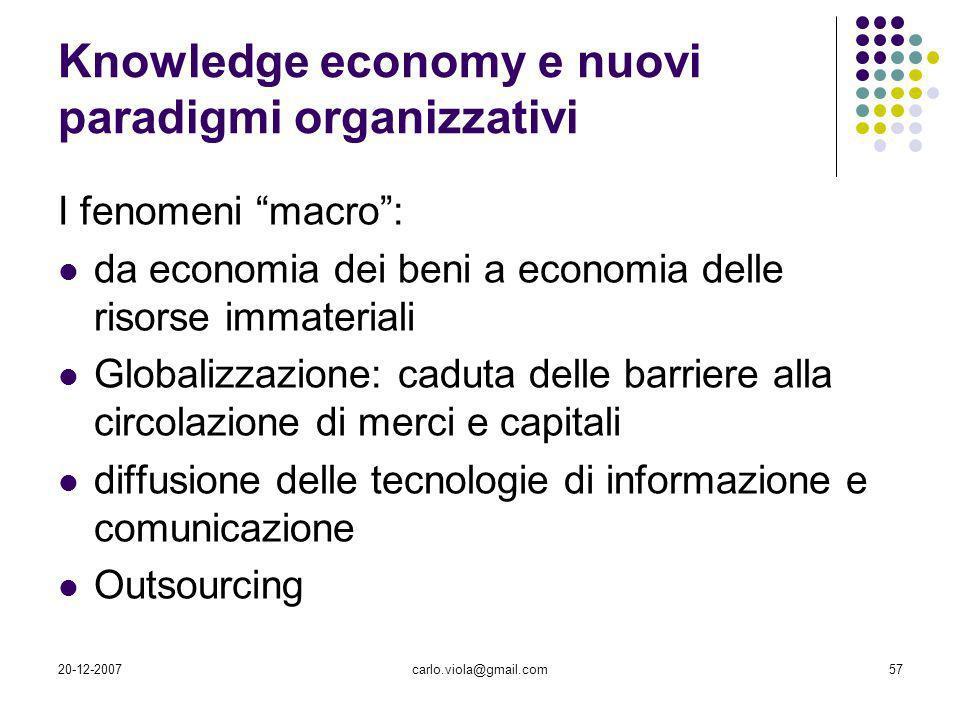 20-12-2007carlo.viola@gmail.com57 Knowledge economy e nuovi paradigmi organizzativi I fenomeni macro: da economia dei beni a economia delle risorse im