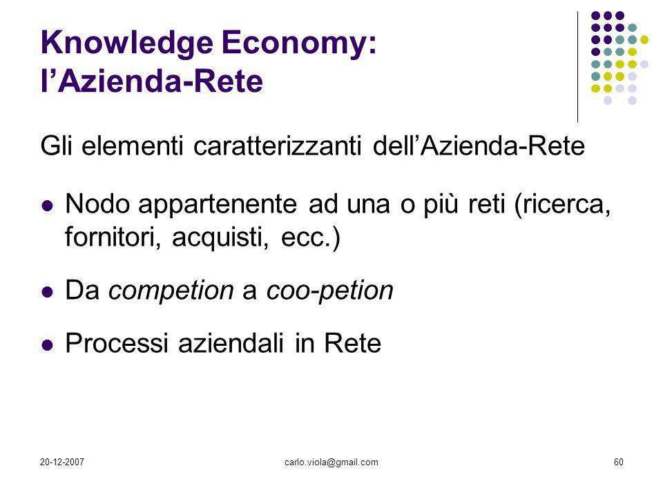 20-12-2007carlo.viola@gmail.com60 Knowledge Economy: lAzienda-Rete Gli elementi caratterizzanti dellAzienda-Rete Nodo appartenente ad una o più reti (