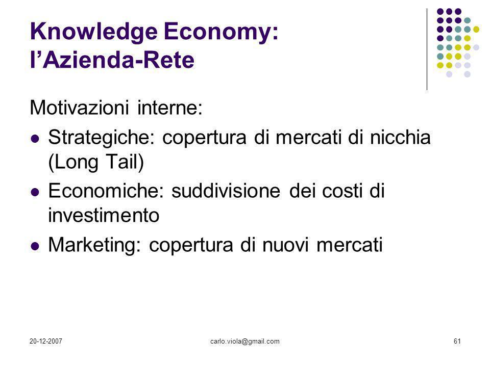 20-12-2007carlo.viola@gmail.com61 Knowledge Economy: lAzienda-Rete Motivazioni interne: Strategiche: copertura di mercati di nicchia (Long Tail) Econo