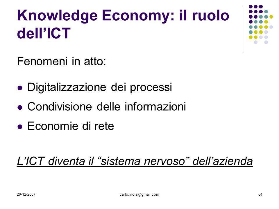 20-12-2007carlo.viola@gmail.com64 Knowledge Economy: il ruolo dellICT Fenomeni in atto: Digitalizzazione dei processi Condivisione delle informazioni
