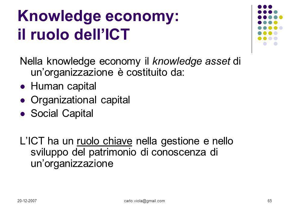 20-12-2007carlo.viola@gmail.com65 Nella knowledge economy il knowledge asset di unorganizzazione è costituito da: Human capital Organizational capital