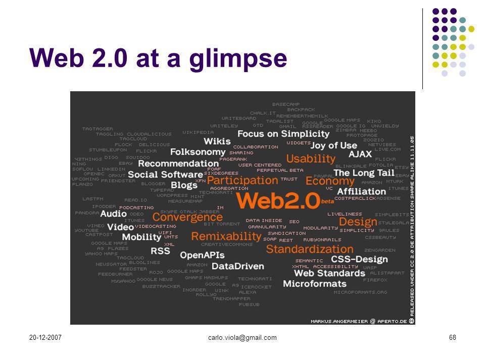 20-12-2007carlo.viola@gmail.com68 Web 2.0 at a glimpse