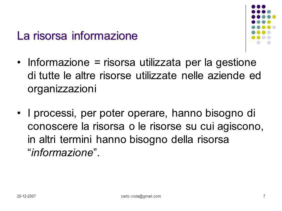 20-12-2007carlo.viola@gmail.com7 La risorsa informazione Informazione = risorsa utilizzata per la gestione di tutte le altre risorse utilizzate nelle