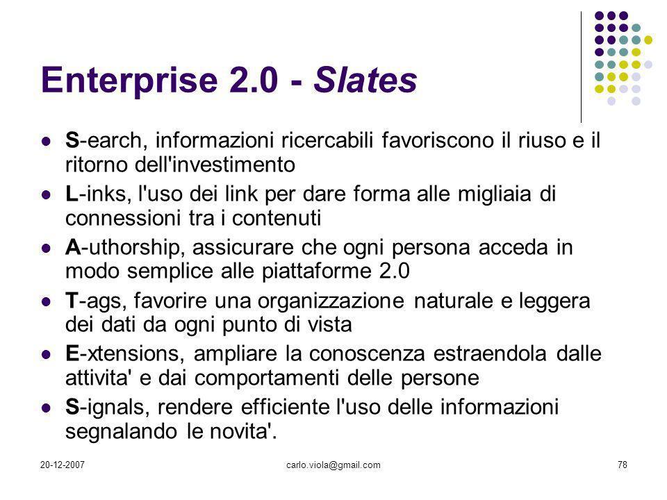 20-12-2007carlo.viola@gmail.com78 Enterprise 2.0 - Slates S-earch, informazioni ricercabili favoriscono il riuso e il ritorno dell'investimento L-inks